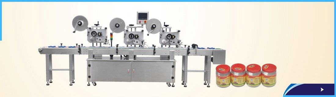 Three Head Label applicator with Conveyor for high speed filling line